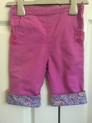 JoJo Maman Bebe Girls Pink Capri/Cropped Trousers With Floral Turn-up. 2-3 Years