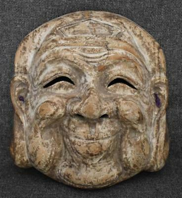 Large Antique Japanese Carved And Painted Wooden Mask #1