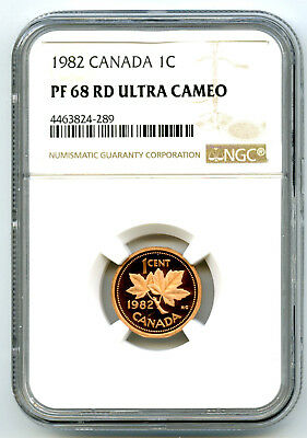 1983 Canada One Cent Ngc Pf68 Rd Ucam Proof Penny Extremely Rare Pop=5