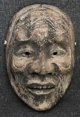 Antique Japanese Carved And Painted Wooden Mask #4 - Old Woman