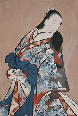 Early 18Th Century School Of Kaigetsudo Ando Woodblock Print Rosewood Frame