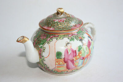 19th Century Antique Chinese Porcelain Famille Rose Painted Teapot with Lid