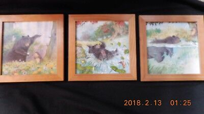Set of 3 Friendly Bear Prints with outdoor animals  in all wood frame.  Ikea.
