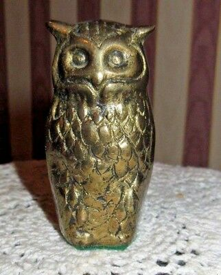 **small Detailed Solid Brass Owl Figurine**