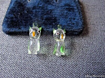 2 Vintage Clear & Juicy Green Murano Glass Owl Charms Pendants  Unused  #4