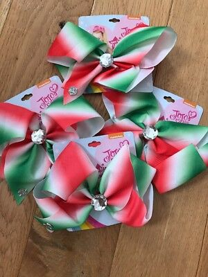 NWT Authentic JOJO SIWA LARGE OMBRÉ RED GREEN RHINESTONE BOW HTF NICELODEON