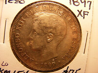Philippines 1897 Large Silver Peso, KM#154, XF