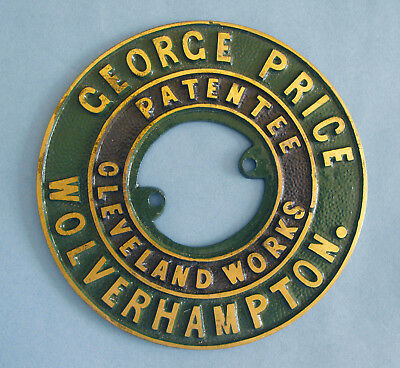 George Price Cleveland Works Wolverhampton Brass Safe Plaque