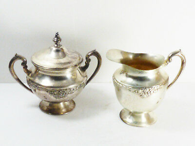 VTG Double Plate Silver on Copper footed Sugar bowl with lid & creamer set