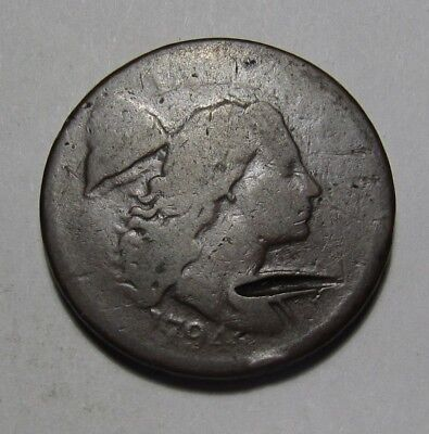 1794 Flowing Hair Large Cent Penny - Well Worn Condition Strong Date - 70SA