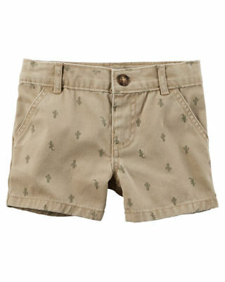 Carter's Infant Boys Cactus Print Flat-Front Twill Shorts NWT beige light brown