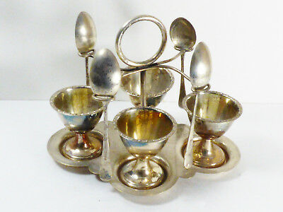 Made in England Silver Plate egg Server Holder Cruet with 4 cups & spoons