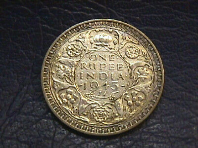 India 1945 Silver 1 Rupee Coin. Km#557.1 Free Shipping!!