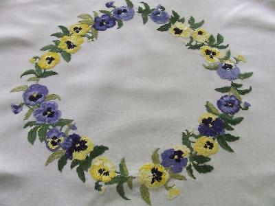 Beautiful Hand Embroidered Vintage Tablecloth Garland of Purple & Yellow Pansies