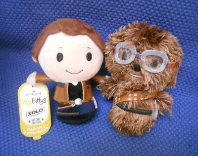"Set Of 2 Hallmark Star Wars Itty Bittys Plush ~ ""han Solo And Chewbacca'"""