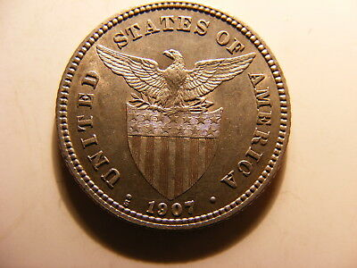 Philippines 1907-S Silver 20 Centavos, KM#170, Choice Uncirculated