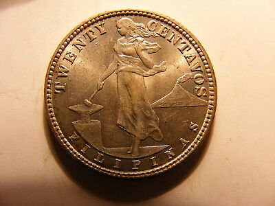 Philippines 1919-S Silver 20 Centavos, KM#170, Uncirculated