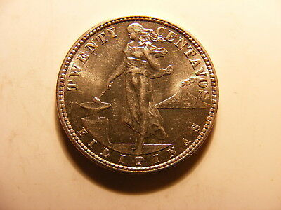 Philippines 1921 Silver 20 Centavos, KM#170, Uncirculated