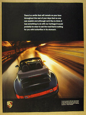 1994 Porsche 911 Cabriolet color photo vintage print Ad