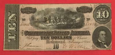 1864 $10 US Confederate States of America! FINE! Old US Paper Currency
