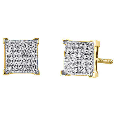 10K Yellow Gold Diamond 4 Prong Square Dome Studs 7.50mm Pave Earrings 1/4 CT.