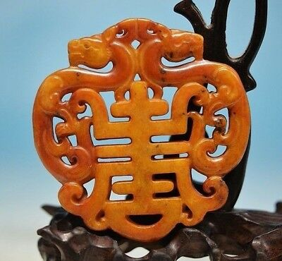 Delicate Chinese Old Jade carved *Dragon* Lucky Pendant ZM33