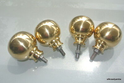 "4 solid Brass BED KNOBS 3"" high old style COT hollow heavy vintage polished 75mm"
