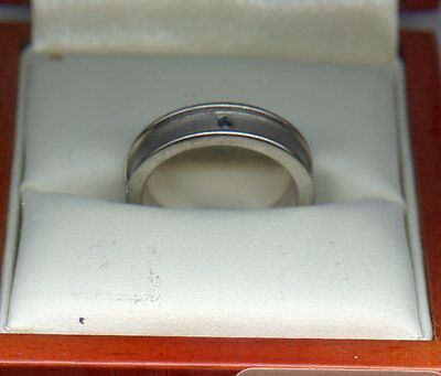 Hot Saphires  Silver Boxed Ring Size O
