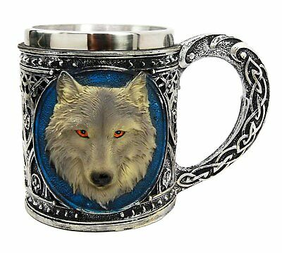 Alpha Grey Wolf Spirit Celtic Mug with Stainless Rim Figurine Statue