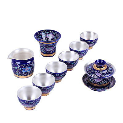 high quality silver tea set health care Chinese porcelain tea set tureen tea cup