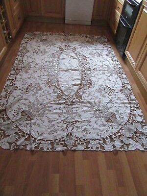 """Vintage Large Madeira-work embroidered table cloth 66"""" wide by 100"""" long"""