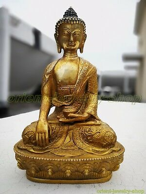 Ancient Bronze gilding Buddha Old Temple God Statue Antique Bodhisattva Dragon