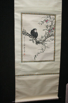 Chinese Ink Watercolour Hand Painting on Rice Paper Silk Long Scroll
