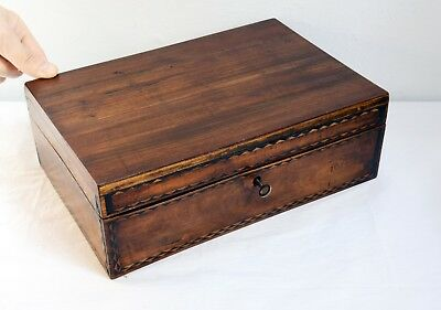Beautiful Antique Inlaid Wooden Specimen Box + Key. With Removable Tray. 30cm