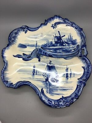 Rare German Franz Anton Mehlem Royal Bonn Delft Style Serving Dish in Leaf Shape