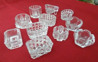 11--Antique/Vintage Clear Crystal Glass Salt Dips--Misc.