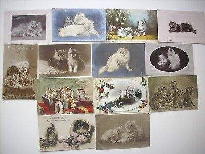 COLLECTION 13 VINTAGE POSTCARDS of CATS.