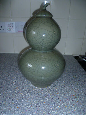 Hand Made Chinese Crackle Vase In Green Heavy Piece.