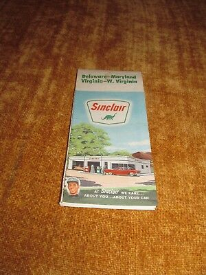 SINCLAIR Gas Station Advertising Map Delaware, Maryland, Virginia, West Virginia