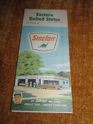 SINCLAIR Gas Station Advertising Map EASTERN UNITED STATES  1963