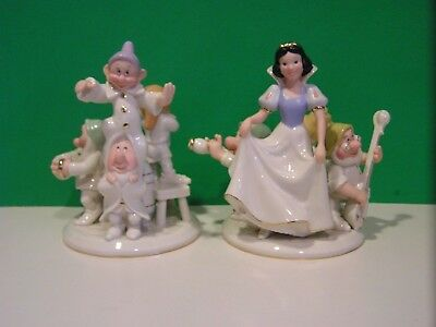 LENOX SNOW WHITE and the SEVEN DWARFS CANDLESTICKS Disney NEW in BOX with COA