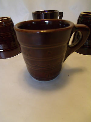 LOT OF 4- Vintage MARCREST BROWN GLAZE DAISY DOT Cups MUGS - 8 oz.