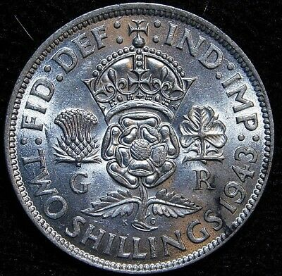 1943 Florin Great Britain Silver  UNC  A29-402