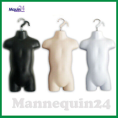 Toddler Mannequin Torsos Set Black Flesh White 3 Baby Hanging Dress Forms