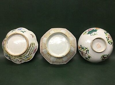 Lot of 3 Antique Chinese Bowls Floral Roosters ~ As Found