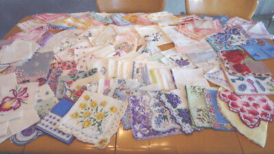 Fabulous Lot Of 118 Vintage Handkerchiefs Hankys - Most With Tags