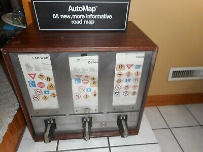 Vintage Original Gas Station Automap Coin Operated Road Map Machine W Sign Oil