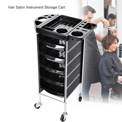 Hairdresser Salon Spa Multifunction Hair Trolley 6 Tier Roll Beauty Storage Cart