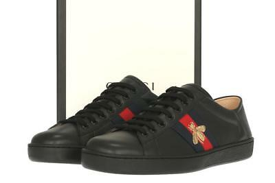 224187e05 New Gucci Ace Men's Black Leather Web Bee Logo Sneakers Low Top Shoes 8 G/