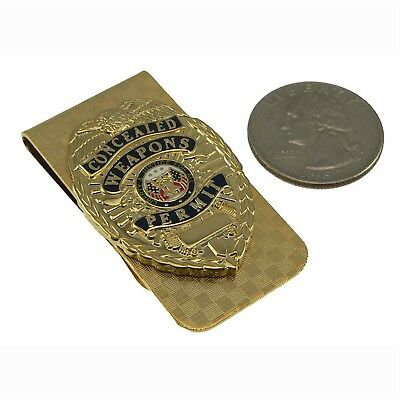 Concealed Weapons Carry Permit Money Clip Gold Mini Badge CWP CCP CCL 2nd